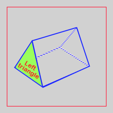 Triangular prism with left triangle highlighted