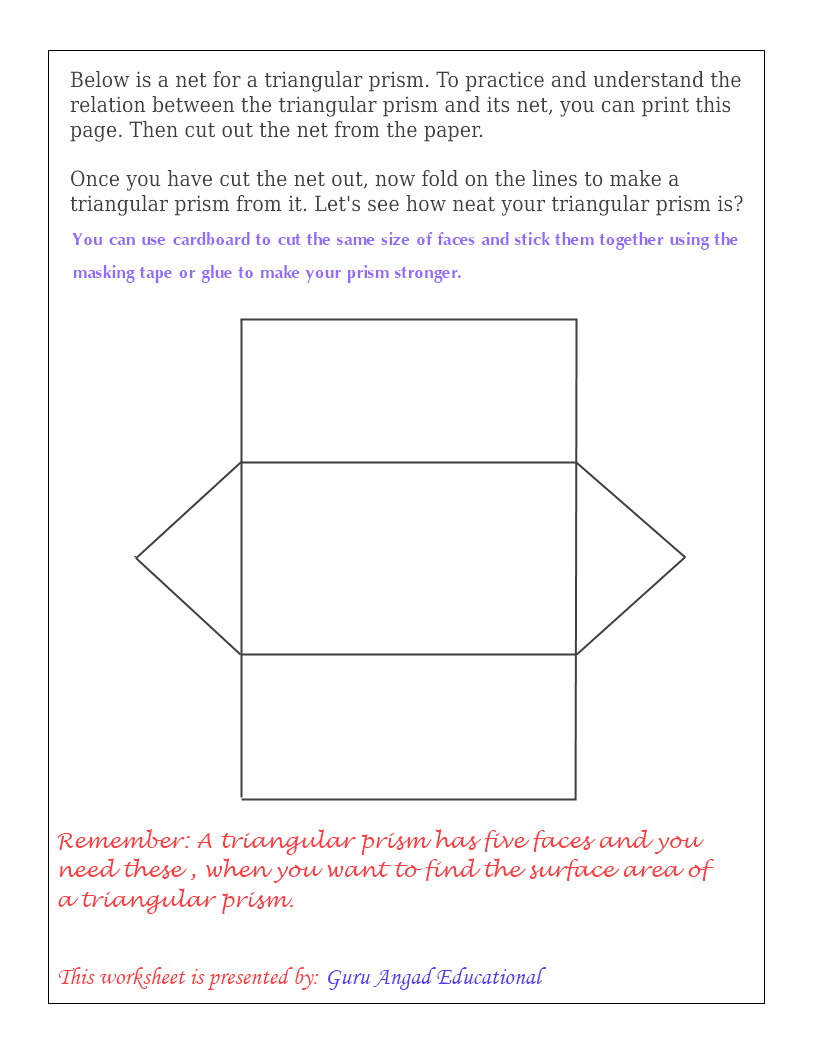 Uncategorized Surface Area Nets Worksheet trinangular prism net triangular nets