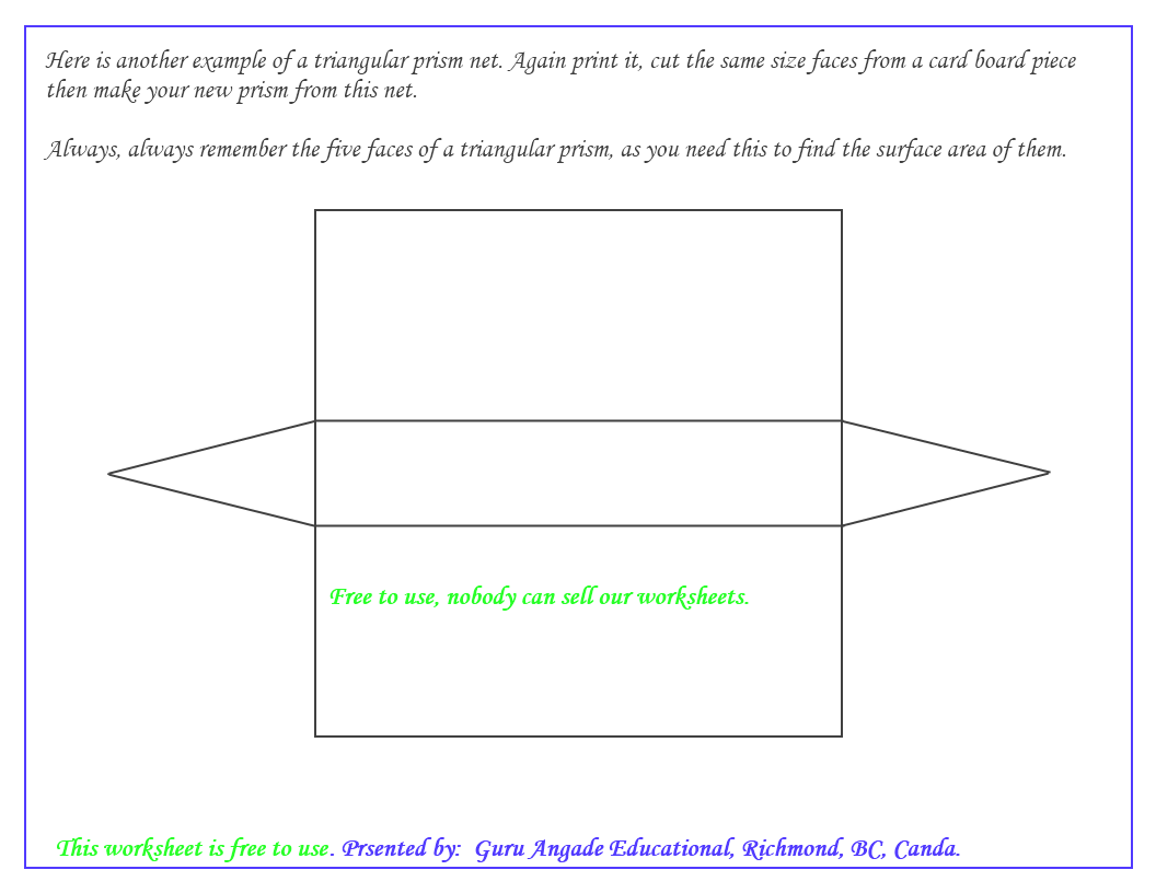 Uncategorized Surface Area Nets Worksheet trinangular prism net of a triangular prism