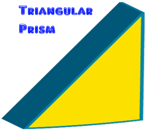 Right triangular prism is a rectangular prism cut diagonally into two pieces. A good example is a wedge or a slice of birthday cake.